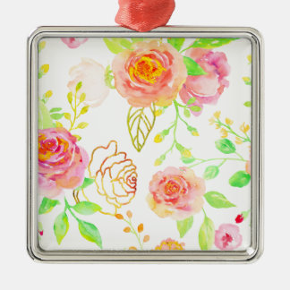 Watercolor Pink and Gold Rose Pattern Metal Ornament