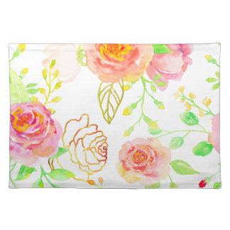 Watercolor Pink and Gold Rose Pattern Placemat