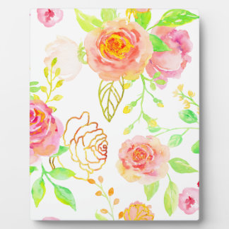 Watercolor Pink and Gold Rose Pattern Plaque
