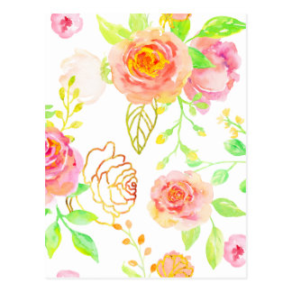 Watercolor Pink and Gold Rose Pattern Postcard