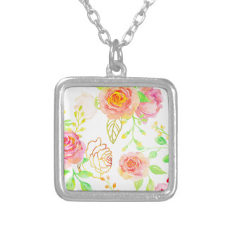 Watercolor Pink and Gold Rose Pattern Silver Plated Necklace