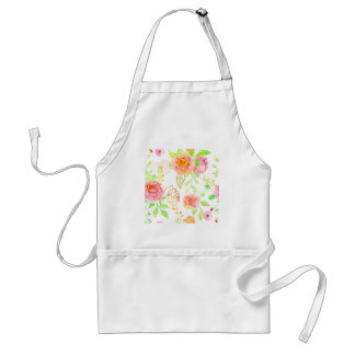 Watercolor Pink and Gold Rose Pattern Standard Apron