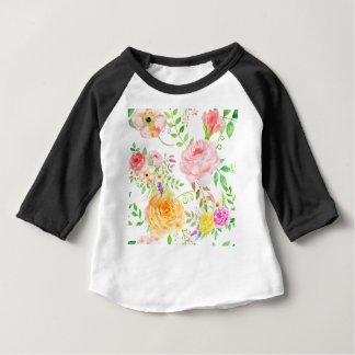 Watercolor pink and peach rose pattern baby T-Shirt