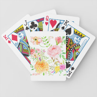 Watercolor pink and peach rose pattern bicycle playing cards