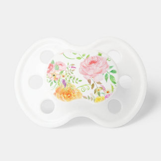 Watercolor pink and peach rose pattern pacifier
