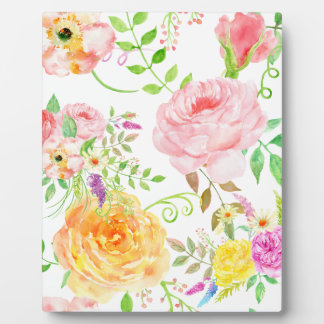 Watercolor pink and peach rose pattern plaque