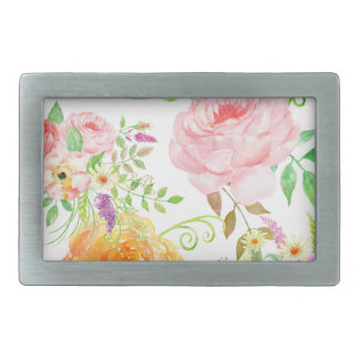 Watercolor pink and peach rose pattern rectangular belt buckles