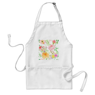 Watercolor pink and peach rose pattern standard apron