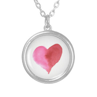 Watercolor Pink and Red Heart Silver Plated Necklace
