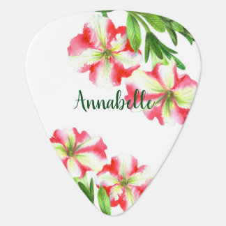 Watercolor Pink and White Petunias Illustration Guitar Pick