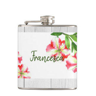 Watercolor Pink and White Petunias Illustration Hip Flask