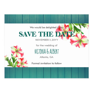 Watercolor Pink and  White Petunias Save The Date Postcard