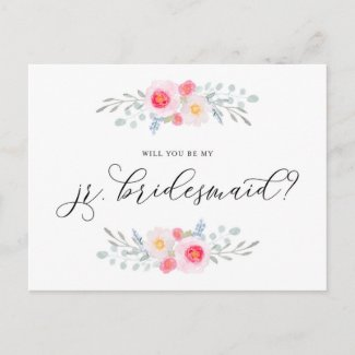 Watercolor Pink Anemones Be My Jr. Bridesmaid Invitation Postcard