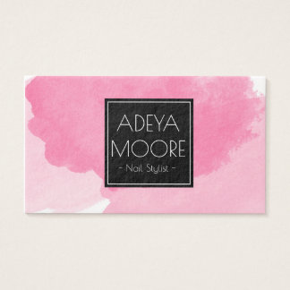Watercolor Pink & Black Ultra Modern Business Card