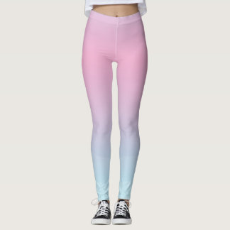 Watercolor Pink Blue Leggings