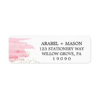 Watercolor Pink Blush and Gold Sparkle Wedding Return Address Label