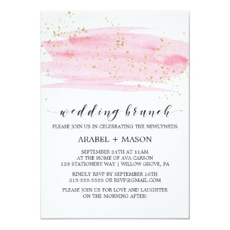 Watercolor Pink Blush and Gold Wedding Brunch Card