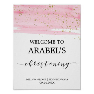 Watercolor Pink Blush & Gold Christening Welcome Poster