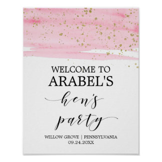 Watercolor Pink Blush & Gold Hen's Party Welcome Poster