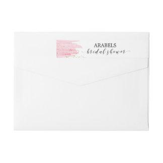 Watercolor Pink Blush & Gold Sparkle Bridal Shower Wraparound Return Address Label