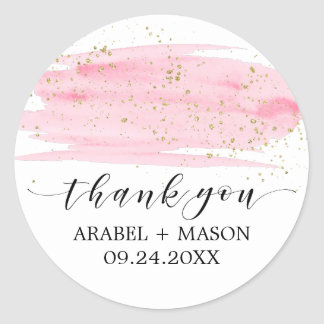 Watercolor Pink Blush & Gold Sparkle Wedding Favor Round Sticker