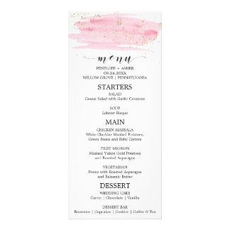 Watercolor Pink Blush & Gold Sparkle Wedding Menu Full Color Rack Card