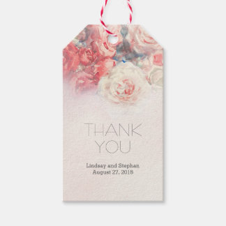 Watercolor Pink Blush Roses Wedding Gift Tags
