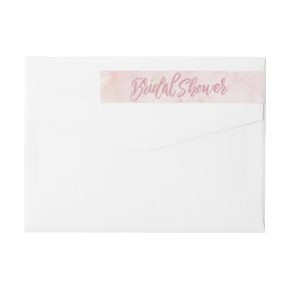 Watercolor Pink Bridal Shower Wraparound Return Address Label