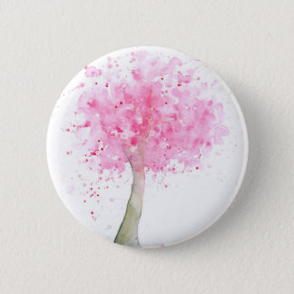 Watercolor Pink Cherry Tree 2 Inch Round Button