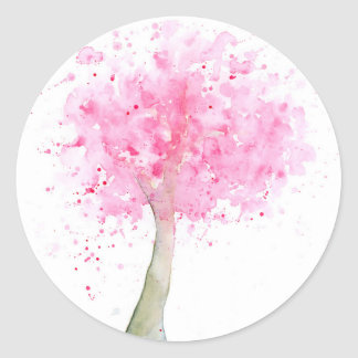 Watercolor Pink Cherry Tree Classic Round Sticker