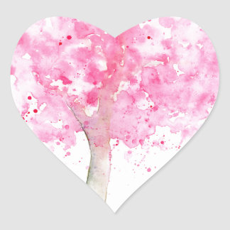 Watercolor Pink Cherry Tree Heart Sticker