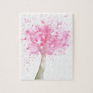 Watercolor Pink Cherry Tree Jigsaw Puzzle
