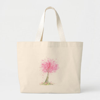 Watercolor Pink Cherry Tree Large Tote Bag
