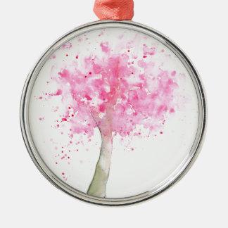 Watercolor Pink Cherry Tree Metal Ornament