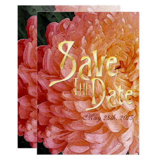 Watercolor Pink Chrysanthemum Wed Save The Date Card