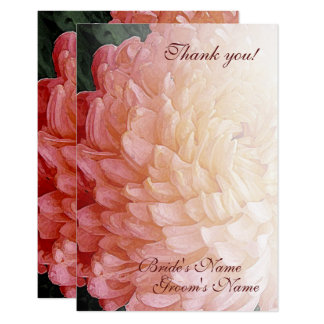 Watercolor Pink Chrysanthemum Wedding Thank You Card