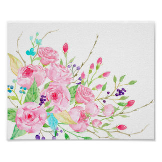 Watercolor Pink Cottage Rose Poster