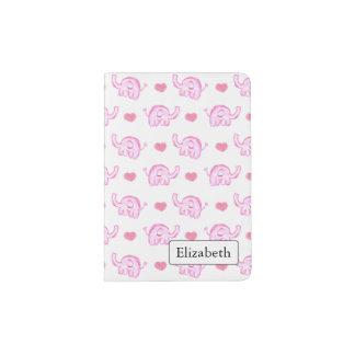watercolor pink elephants hearts passport holder
