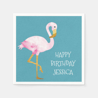 Watercolor Pink Flamingo Birthday Paper Napkin