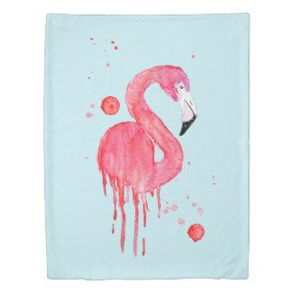Watercolor Pink Flamingo Duvet Cover