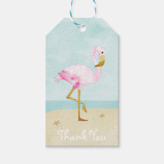 Watercolor Pink Flamingo on the Beach Gift Tags