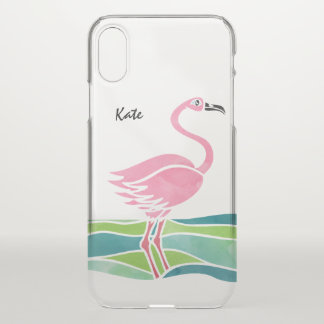 Watercolor Pink Flamingo Personalized Cute Trendy iPhone X Case