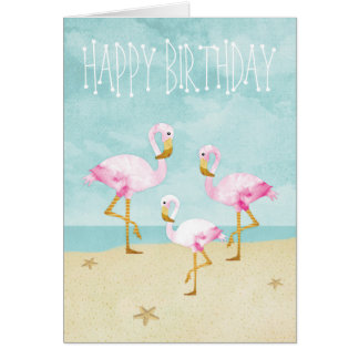 Watercolor Pink Flamingos on the Beach Card