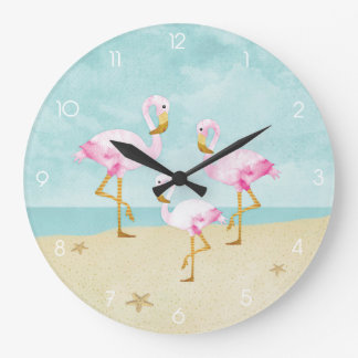 Watercolor Pink Flamingos on the Beach Large Clock