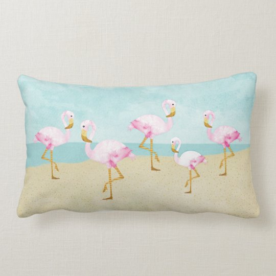 Watercolor Pink Flamingos on the Beach Lumbar Pillow