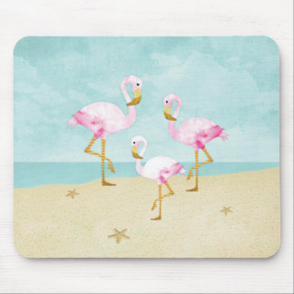 Watercolor Pink Flamingos on the Beach Mouse Pad