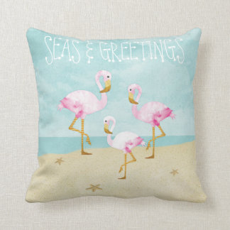 Watercolor Pink Flamingos on the Beach Pillow