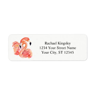 Watercolor Pink Flamingos Tropical Birds Return Address Label