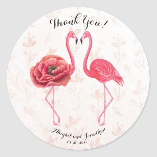 Watercolor Pink Flamingos Wedding Couple Thank You Classic Round Sticker