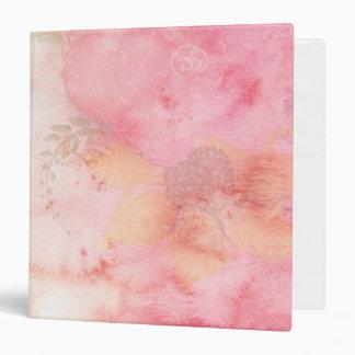 Watercolor Pink Floral Background 3 Ring Binder